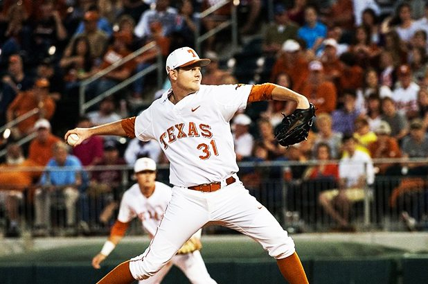 French, Hollingsworth combine for two-hit shutout. (Image Credit: University of Texas Athletics)