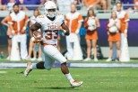 Running back led the Texas ground game with a career-high 112 rushing yards on 18 carries (photo courtesy of texassports.com).