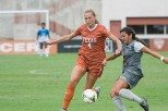 Senior Lindsey Meyer scored the game-winning goal in the Longhorns' 2-1 victory at the University of Kansas (photo courtesy of texassports.com).