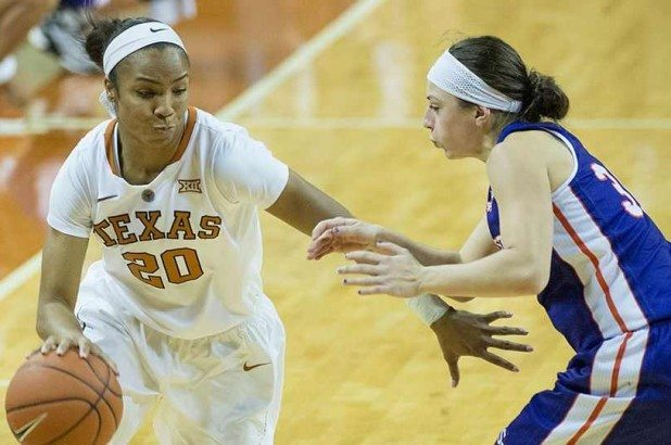 Junior guard Brianna Taylor scored a team-high 16 points to lead Texas to a 79-52 win Wednesday over Hampton (photo courtesy of texassports.com).