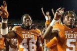 Linebacker Malik Jefferson (46) was one of 12 Texas players to receive all-conference recognition from the Big 12 Conference when he earned honorable mention all-conference honors and was named the Big 12 Defensive Freshman of the Year (photo courtesy of texassports.com).
