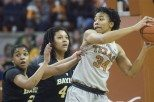 Center Imani Boyette had her ninth double-double of the year, with 15 points and 17 rebounds, but that was not enough as the Texas women's basketball team suffered its first loss of the year Sunday against Baylor (photo courtesy of texassports.com).
