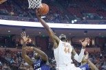 Senior center Prince Ibeh had a double-double with a career-high 17 points and 10 rebounds as Texas hammered TCU (photo courtesy of texassports.com).