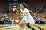 Guard Brooke McCarty led the Longhorns in points (18), steals (3) and assists (3) as Texas improved to 22-1 with a TKTK win over Oklahoma State at the Frank Erwin Center (photo courtesy of texassports.com).