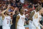 The University of Texas men's basketball team has won six of its last seven games and is 4-1 against AP top 20 teams this season after a TKTK win at Baylor (photo courtesy of texassports.com).