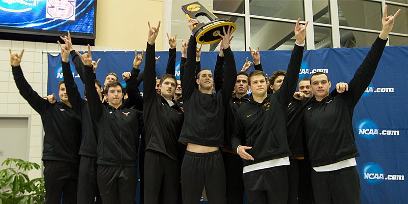 The University of Texas men's swimming and diving team's 12th NCAA championship tied Michigan for the most ever for a school, and gave head coach Eddie Reese more than any coach in the history of the sport (photo courtesy of texassports.com).