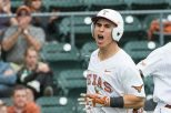 Texas catcher Tres Barrera had a single, a double and a home run in the Longhorns' 8-6 victory over Kansas (photo courtesy of texassports.com).