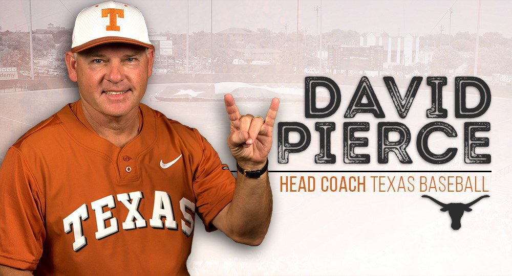 David Pierce was formally introduced Thursday as the new baseball head coach at the University of Texas (graphic courtesy of texassports.com).