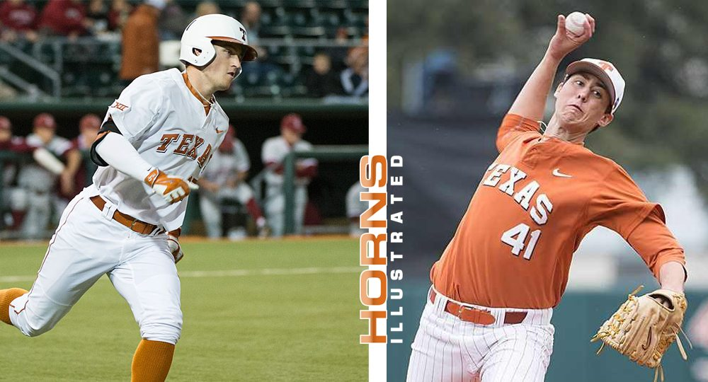 Infielder Bret Boswell (left) and pitcher Morgan Cooper raised to four the number of Texas baseball players chosen in the 2016 Major League Baseball draft when Cooper was selected by the Washington Nationals and Boswell was picked by the Los Angeles Angels of Anaheim (photos courtesy of texassports.com / graphic by Horns Illustrated).