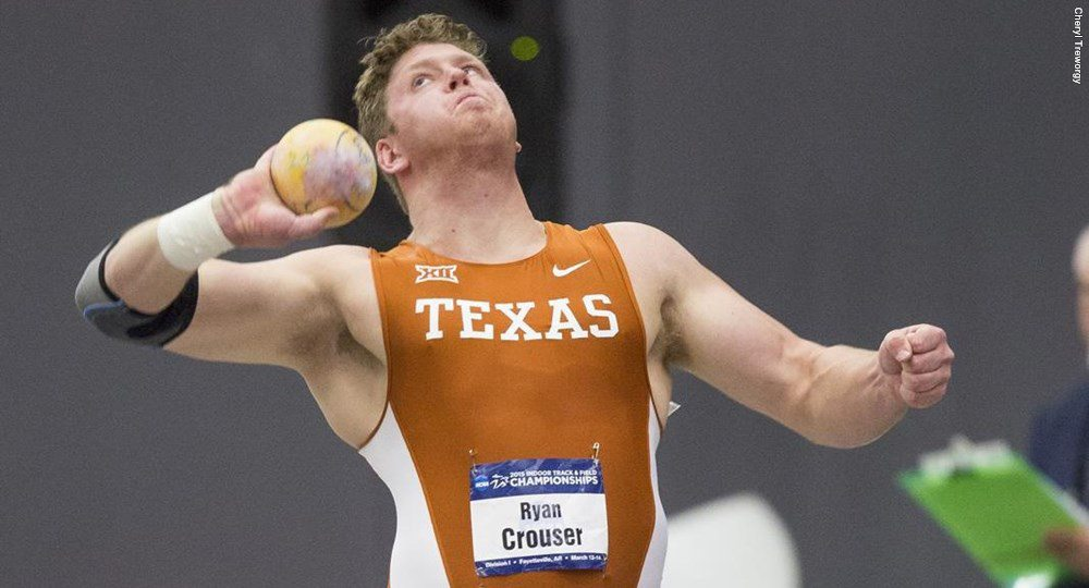 One of the elite University of Texas track athletes in recent years, Ryan Crouser now has been named 2016 NCAA Division I Male Indoor Field Scholar Athlete of the Year by the USTFCCCA (photo courtesy of texassports.com).