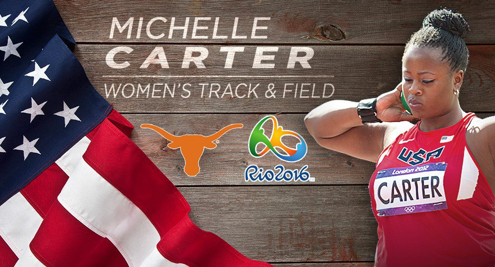 Former Texas track star Michelle Carter has qualified for a spot on the U.S. Olympic track and field team for the third time (graphic courtesy of texassports.com).