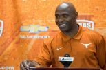 Texas football head coach Charlie Strong is playing coy with the media and fans — and, most importantly, the coach staff at UT's first opponent, Notre Dame — by declining to announce who will start the opener at quarterback for the Longhorns in a battle featuring senior Tyrone Swoopes and freshman Shane Buechele (photo courtesy of texassports.com).