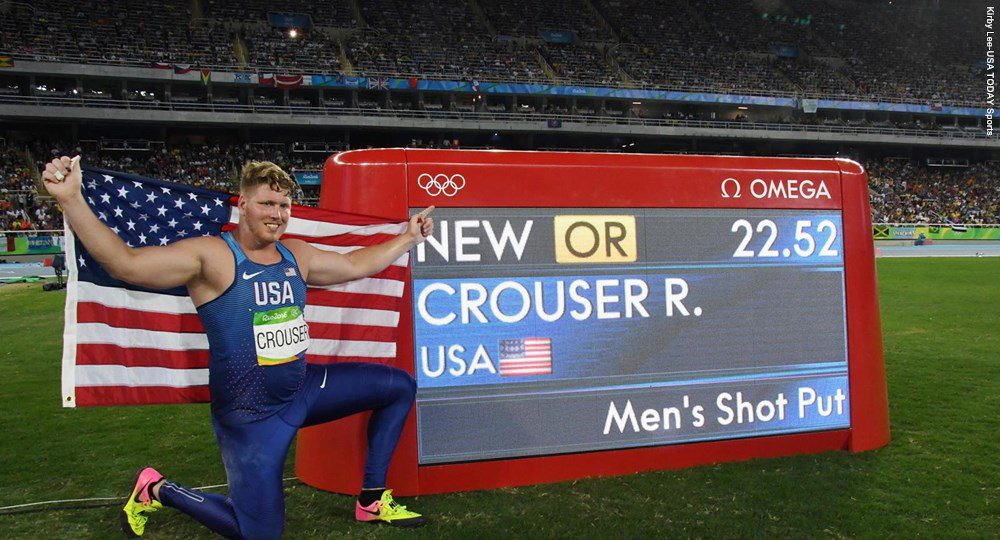 University of Texas alumnus Ryan Crouser became the second Longhorn in a week to win an Olympic gold medal in the shot put (photo courtesy of texassports.com).