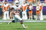 Running back D'Onta Foreman piled up 136 rushing yards on a career-high 30 carries in the Texas football team's 27-6 victory over Iowa State (photo courtesy of texassports.com).