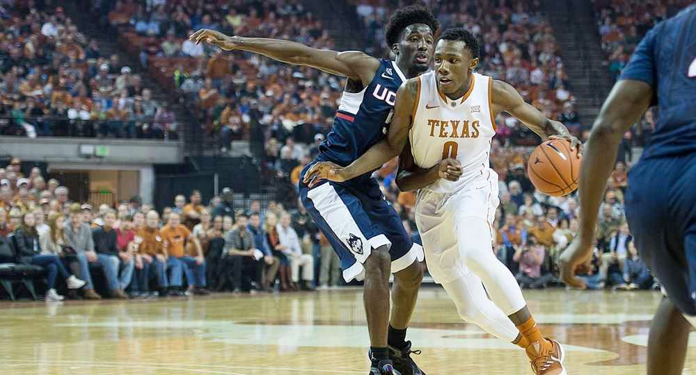 Sophomore guard Tevin Mack led the Texas offense with 18 points as the Texas men's basketball team pulled away from UAB, 96-60, at the Frank Erwin Center (photo courtesy of texassports.com).