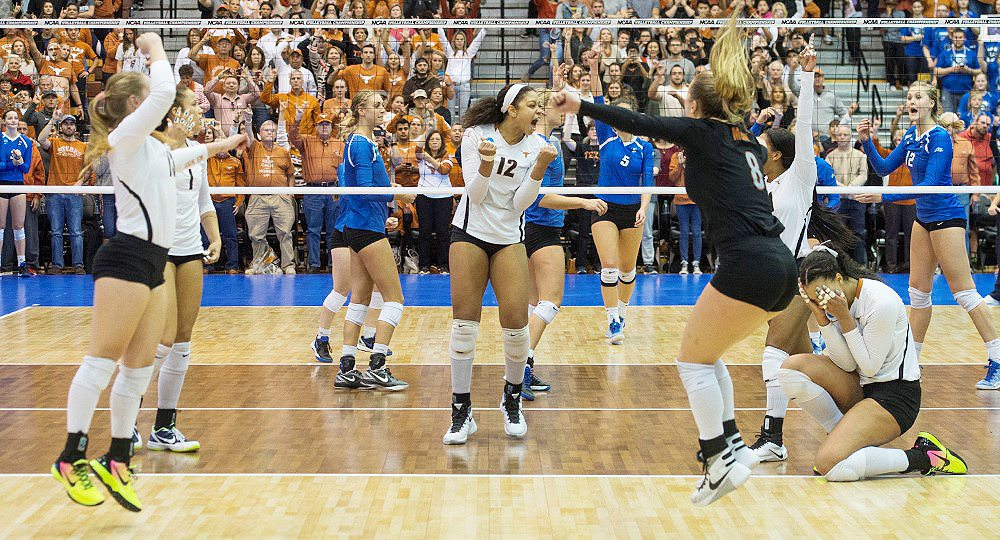 The Texas volleyball team gets a chance in the NCAA semifinal to avenge two losses to Nebraska: one in August and the other in last year's NCAA championship match (photo courtesy of texassports.com).