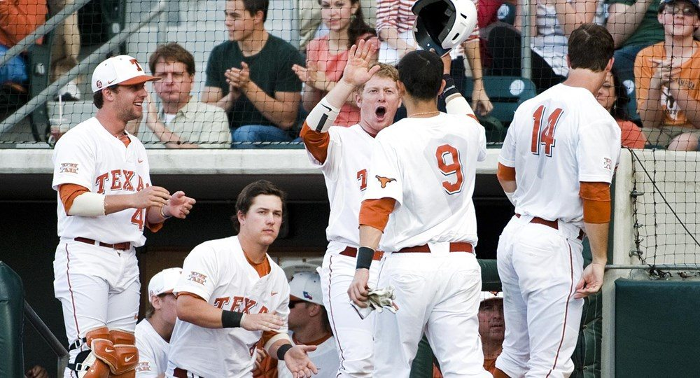 The No. 12/15 Texas baseball team looks for its fifth straight win as the Longhorns take on Texas State Tuesday at 6 p.m. (Image via University of Texas Athletics)