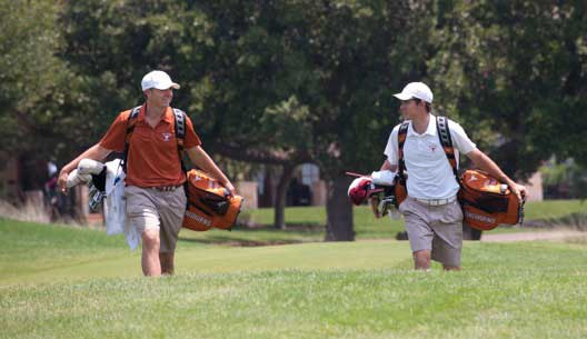 On the course at the UT Golf Club Jordan Spieth (left) and Dylan Frittelli carried their on bags as UT players in 2012. (Photo: Jim Sigmon/Univ. Of Texas)