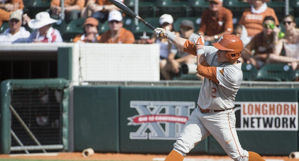 Mark Payton hits a two-run home run; Nathan Thornhill throws seven strong innings to put the Longhorns within one game of the College World Series. (Image via University of Texas Athletics Department)
