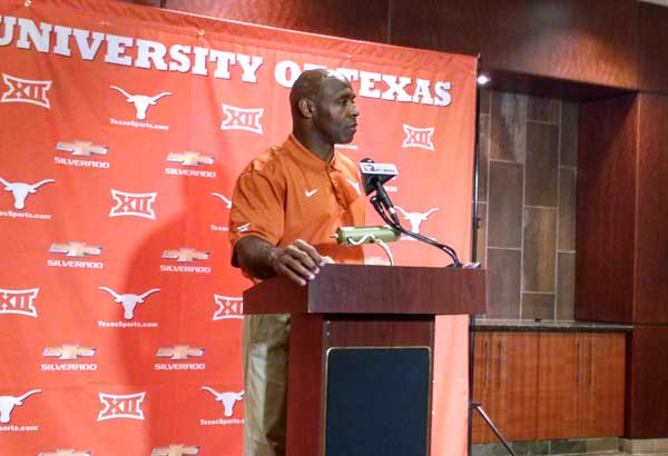 Charlie Strong speaks to the media prior to the start of preseason football practice.