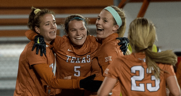 After scoring from 30 yards out, sophomore Julia Dyche celebrates the Longhorns' final goal in the 3-0 win over Rice (Photo: courtesy texassports.com)