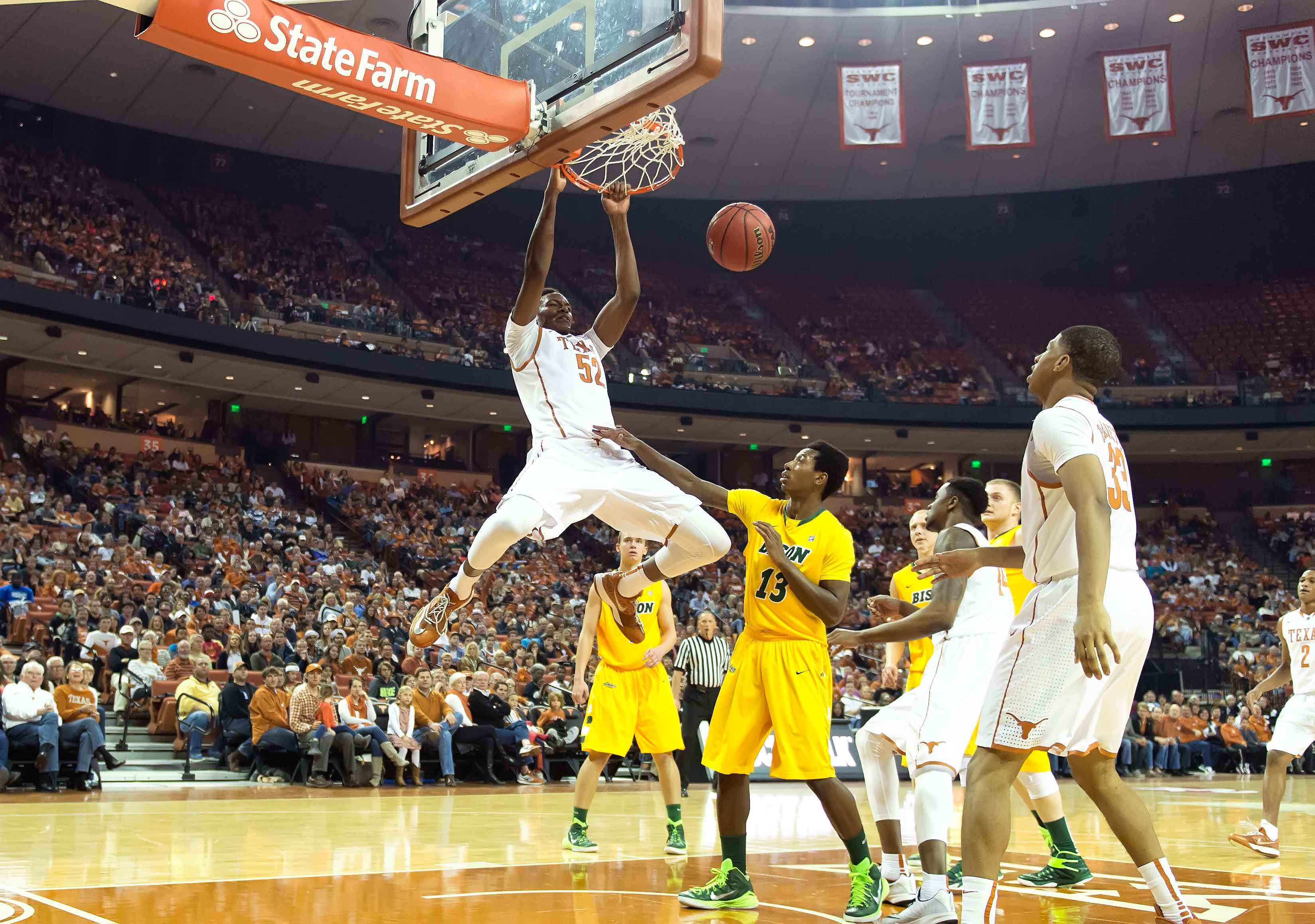 Myles Turner on 11/14/2014 against NDSU. (Photo: Jesse Drohen)