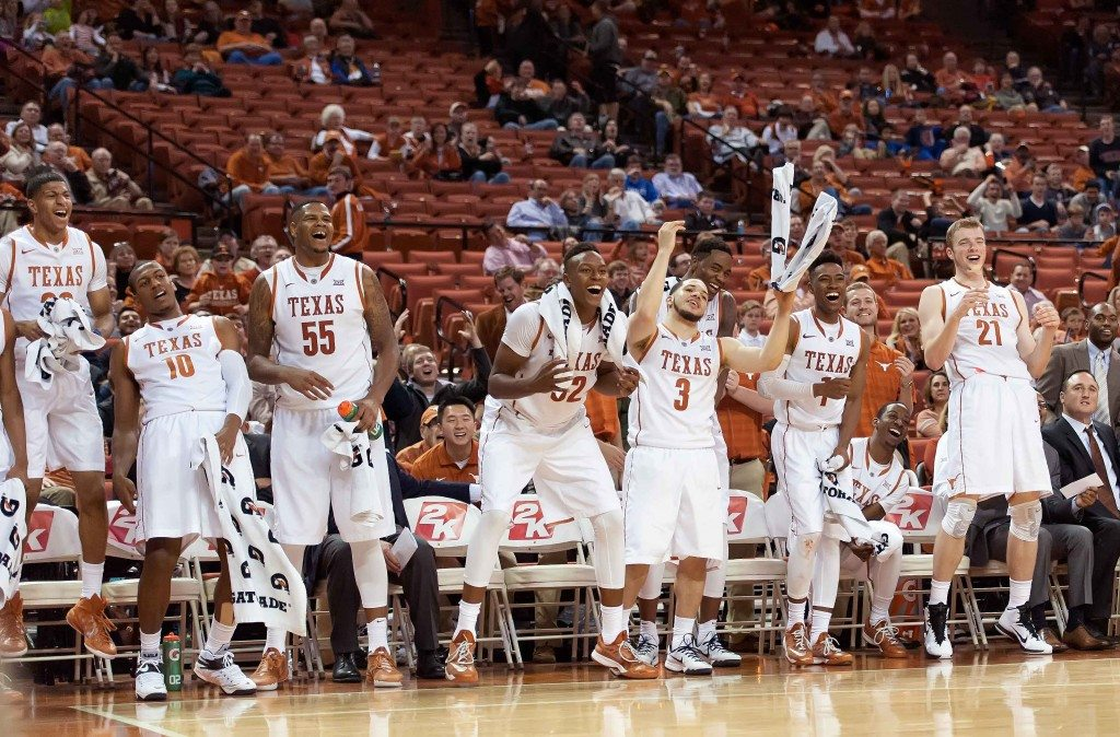 Texas cheers on the team from the bench on 11/14/2014 against NDSU. (Photo: Jesse Drohen)