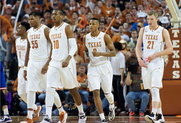 Texas Men's Basketball in the Kansas Game (Photo: Jesse Drohen).