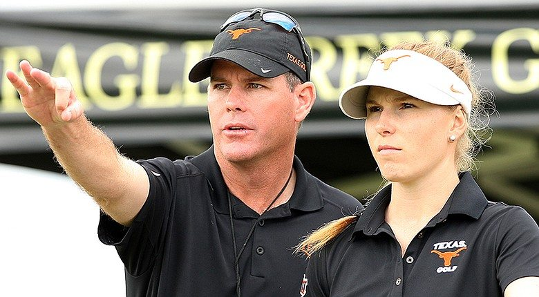 Texas women's head coach Ryan Murphy with junior Natalie Karcher during the UCF Challenge. ( Tracy Wilcox )