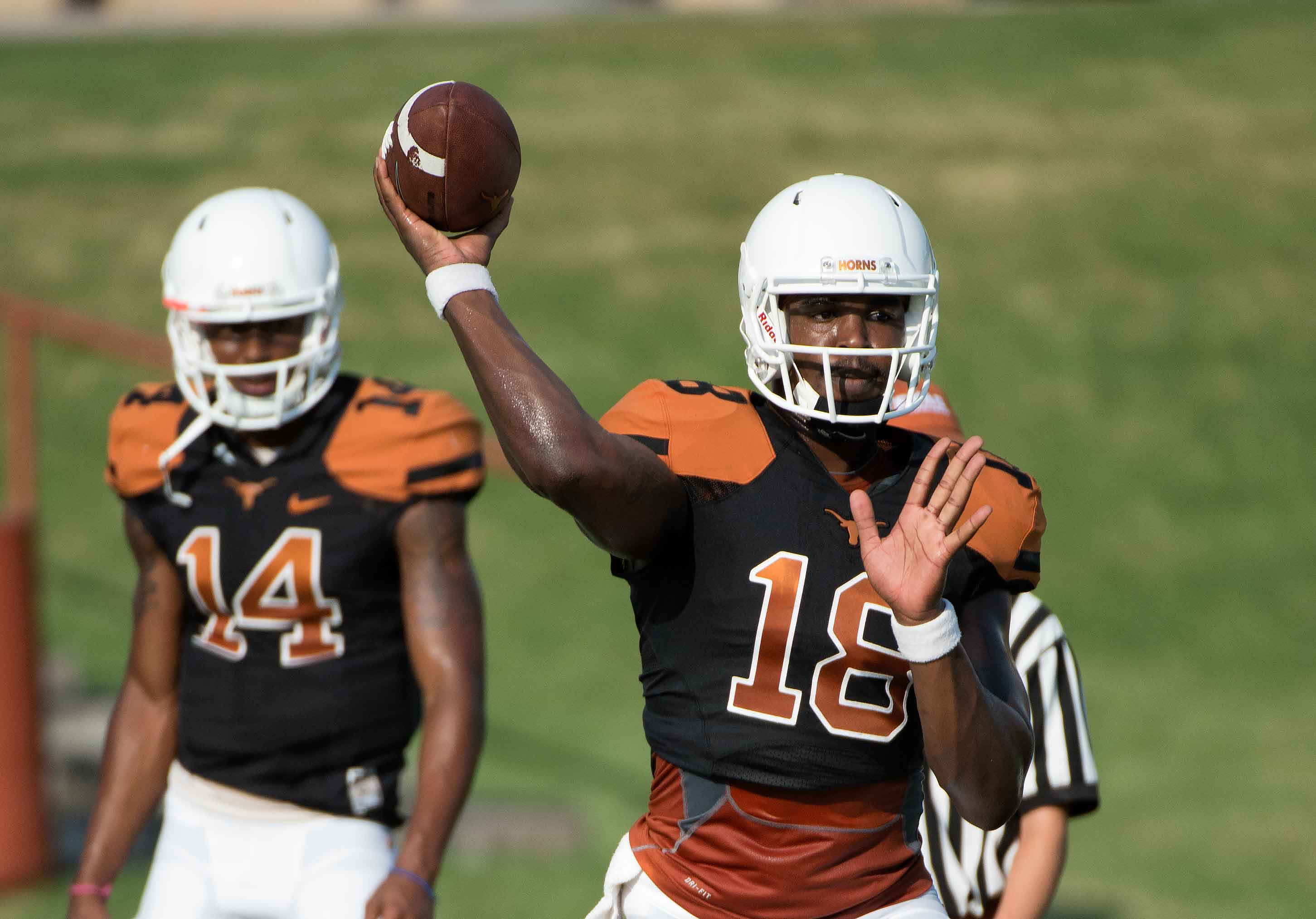 Tyrone Swoopes. Coach Strong. Texas football at practice on Aug 11, 2015 (photo: Jesse Drohen)