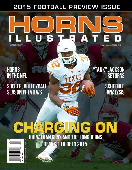 Cover of 2015 Football Preview Issue with Johnathan Gray running with the ball.