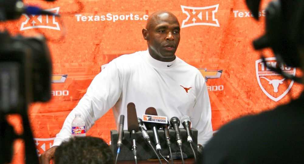 "Texas football head coach Charlie Strong said the Longhorns have to ""make (their) own luck"" (photo courtesy of texassports.com)."