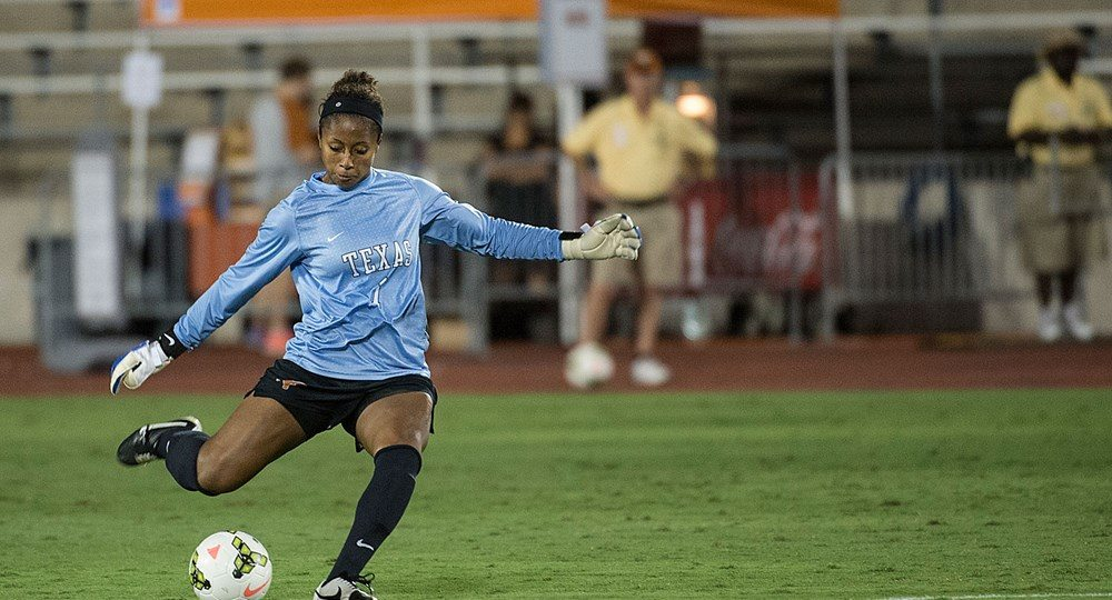 Senior goalkeeper Abby Smith had 10 saves — and a shot of her own — in the Longhorns' 2-0 loss at West Virginia (photo courtesy of texassports.com)