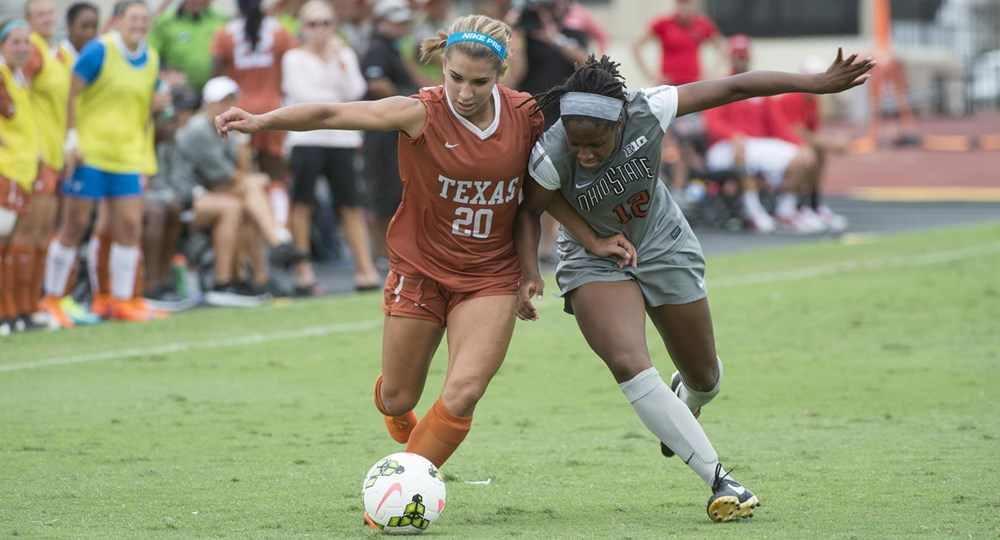 Freshman Mikayla Flores' first collegiate goal turned out to be the game-winner against Abilene Christian (photo courtesy of texassports.com).