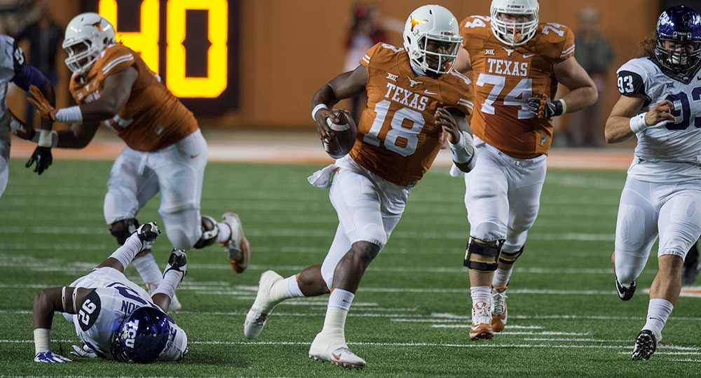 Tyrone Swoopes led the Longhorns in passing yards (59) and rushing yards (58) in UT's 24-0 loss at Iowa State (photo courtesy of texassports.com).