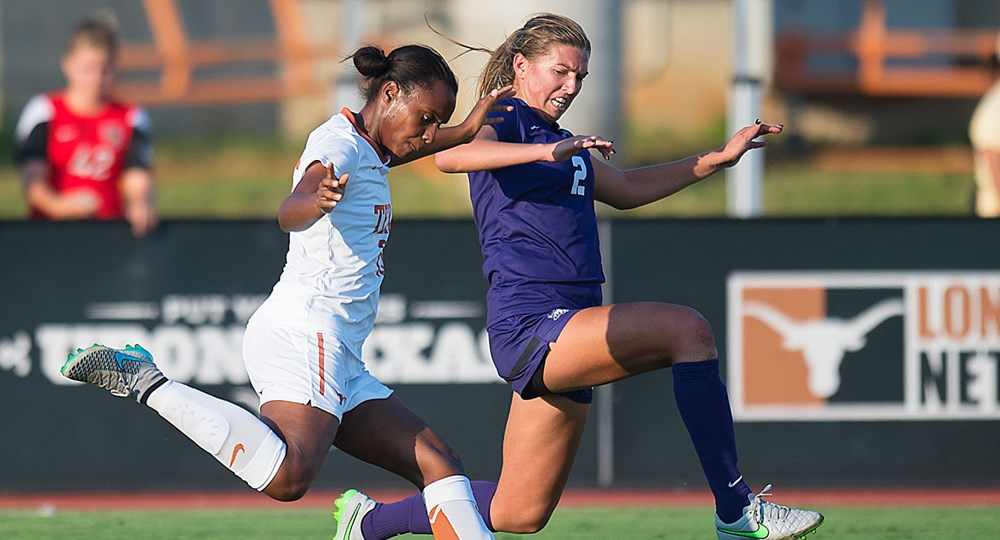Junior forward Jasmine Hart scored the game-winning goal with 21 seconds remaining in the second overtime period to lift Texas to a 2-1 road win over No. 17 Texas Tech (photo courtesy of texassports.com).