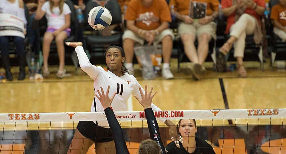 Junior middle blocker Chiaka Ogbogu had nine kills and a team-leading seven block assists as the Longhorns rolled past Texas Tech (photo courtesy of texassports.com).
