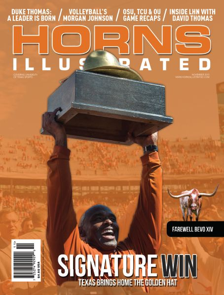 Nov. 2015 Horns Illustrated Cover - Charlie Strong holding Golden Hat Trophy