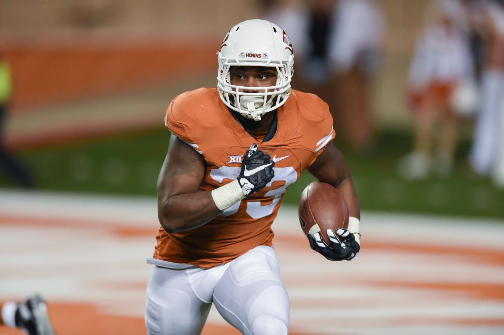 D'Onta Foreman ran for two touchdowns against the Jayhawks (Photo: Don Bender).