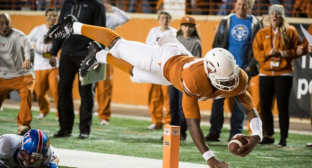The Longhorns improved to 4-5 on the season with a 59-20 thumping of the Kansas Jayhawks (photo courtesy of texassports.com).