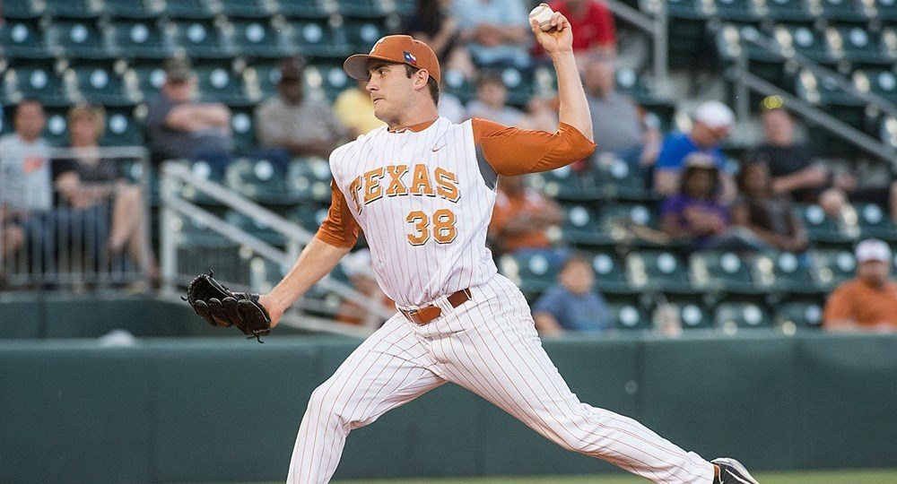 Texas senior Ty Culqreth was named Big 12 Pitcher of the Week after a dominant eight-inning performance against Stanford (photo courtesy of texassports.com).