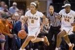 Guard Celina Rodrigo and the Longhorns have raced out to a 20-1 start this year, including the 1,000th victory in the history of the Texas women's basketball program (photo courtesy of texassports.com).