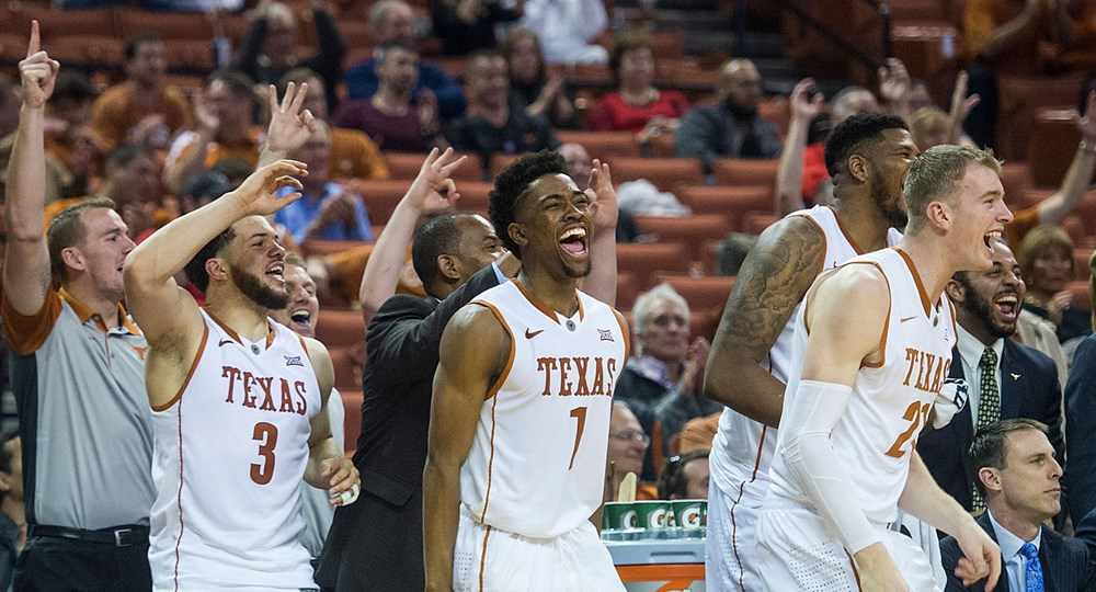 Guard Isaiah Taylor (1) scored a game-high 23 points as Texas beat West Virginia for the second time this season (photo courtesy of texassports.com).