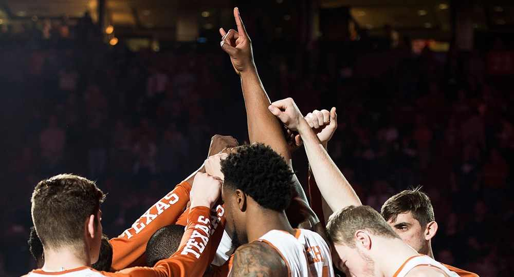 The Texas men's basketball team rode a 22-0 run in the second half to rally for a TKTK win over No. 3 Oklahoma at the Frank Erwin Center (photo courtesy of texassports.com).