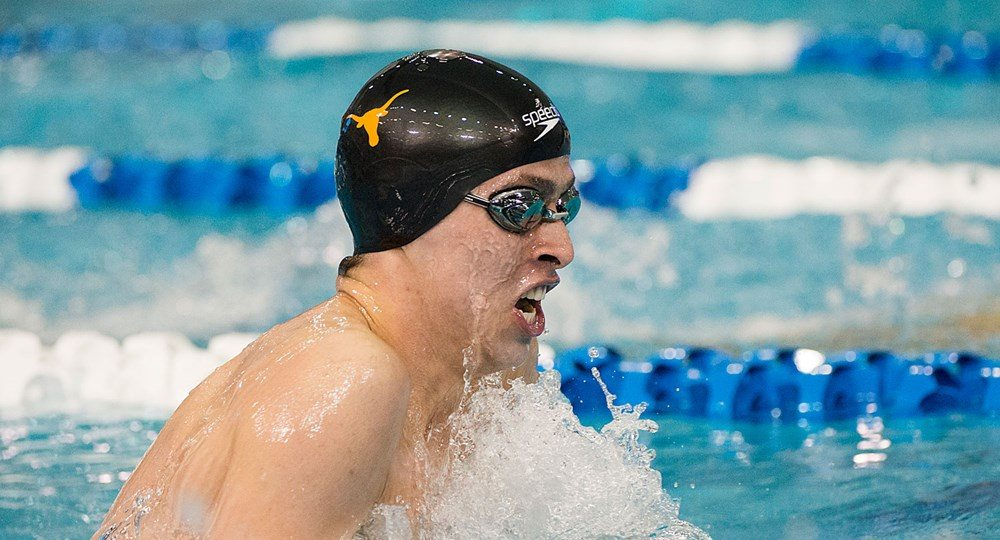 Junior Will Licon, last year's Big 12 Swimmer of the Year, successfully defended his title in the 200 IM to help lead the No. 1-ranked Texas men's swimming and diving team to an 82-point lead after two days of the Big 12 Championships (photo courtesy of texassports.com).