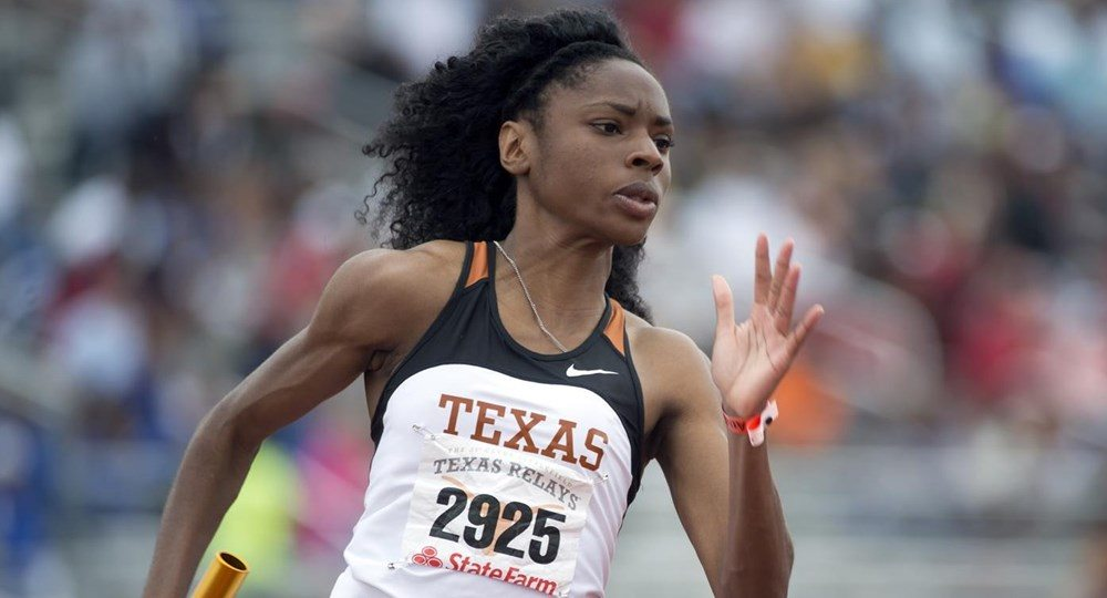 UT's Courtney Okolo ran the fastest 400 meters in the world this year at Frank Sevigne Husker Invitational in Lincoln, Nebraska (photo courtesy of texassports.com).