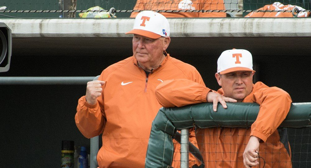 Coach Augie Garrido watched the Longhorns pick up their second win of the season with a 7-0 shutout of UNLV (photo courtesy of texassports.com).