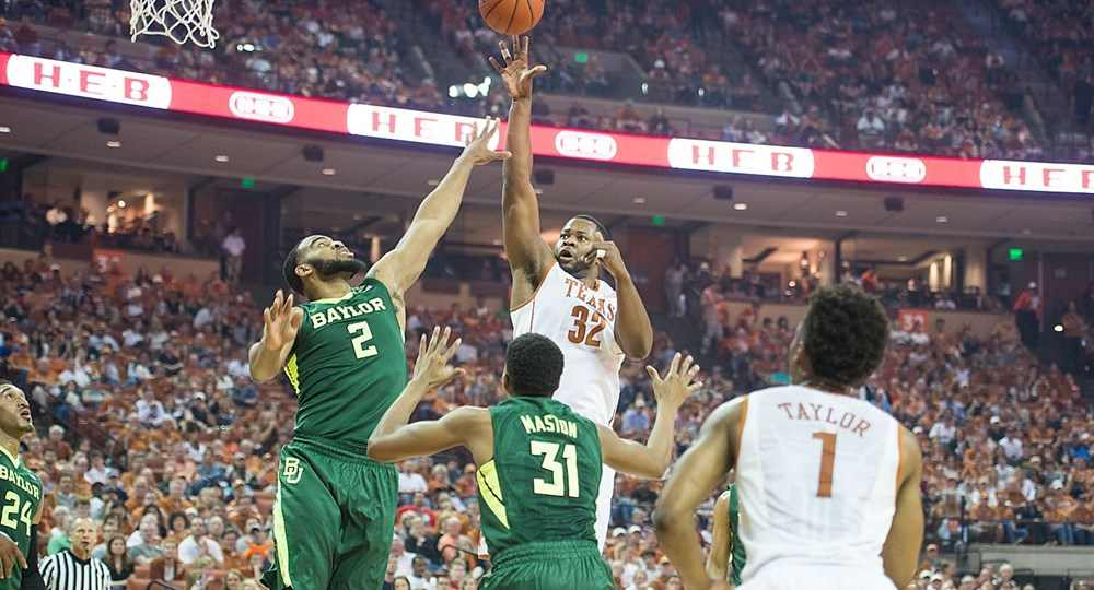 Shaquille Cleare led the Longhorns in scoring for the first time since he arrived in Austin with 14 points in a TKTK home loss to Baylor (photo courtesy of texassports.com).