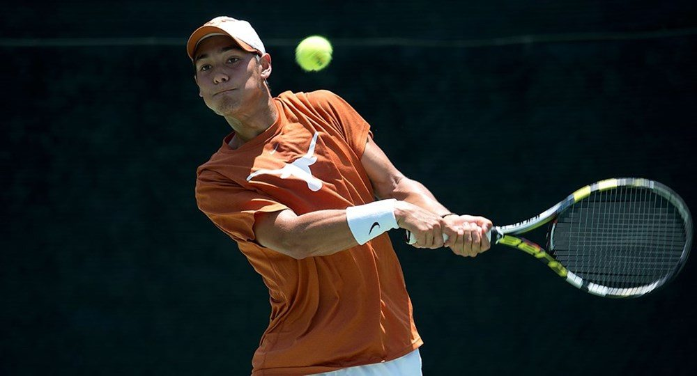 Junior George Goldhoff beat Wen-Po Tseng of Southern Miss, 6-1, 6-1, in the top singles match as the Longhorns cruised to a 4-0 victory (photo courtesy of texassports.com).