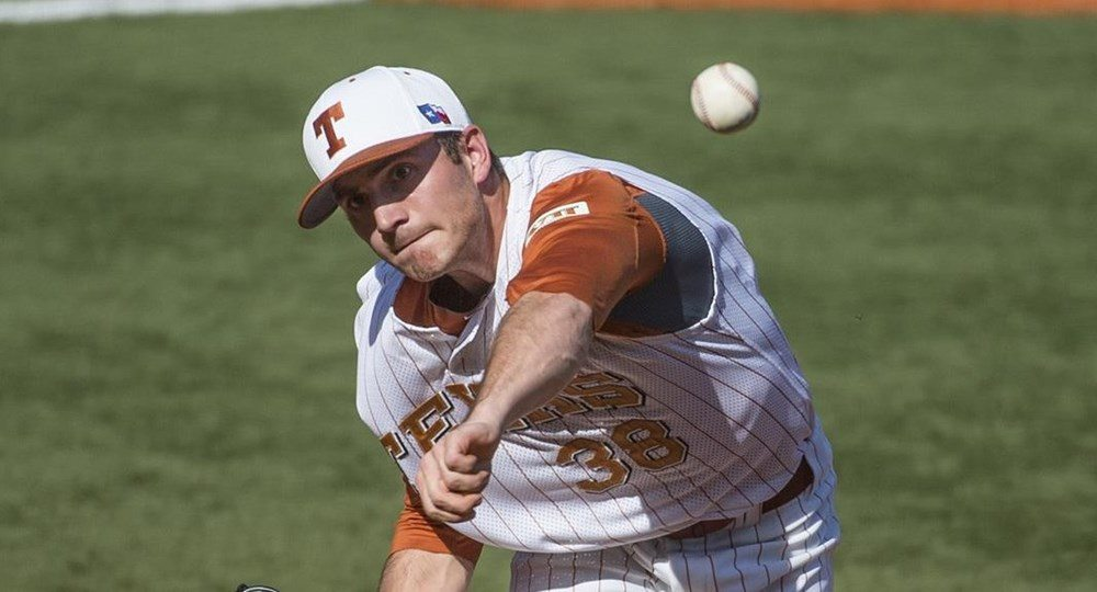 With his victory Saturday over No. 11 Texas Tech, Ty Culbreth became the first pitcher in the Big 12 this season to win eight games (photo courtesy of texassports.com).